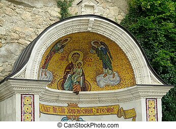 Fresco on a wall of a mountain monastery with the image...
