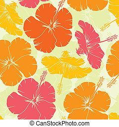 Hibiscus seamless pattern, vector - Hibiscus seamless...