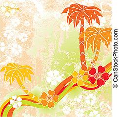 Summer scene, palms, vector - Summer scene, palms,...