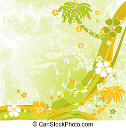 Summer scene, palms, vector