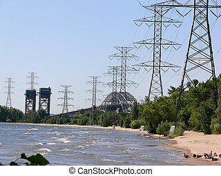 Two bridges and hydro tow - A lift bridge and a highway...