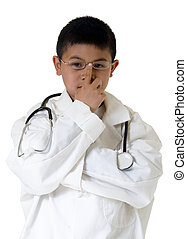 Future doctor - Little asian boy wearing doctor coat and...