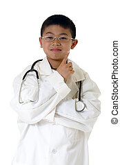 Very young doctor - Little asian boy wearing doctor coat and...