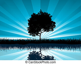 Solitary tree - Silhouette of a solitary tree