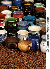 Coffee mugs - A collection of ceramic coffee mugse -...