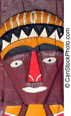 Aboriginal Design - -- face painted on wood by Taiwan\\\'s...