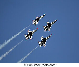 Thunderbird F16 Jets - USAF Thunderbirds in diamond...