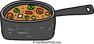 pan of stew - pan of tasty vegetable stew isolated on white...