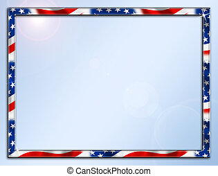 Patriotic Frame Border - Red White Blue Beveled Frame Border...