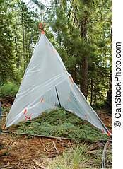 temporary survival shelter made from large clear plastic...