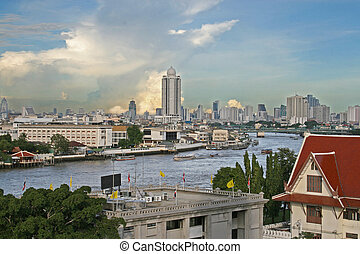 Bangkok river and downtown