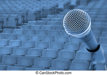 Before A ConferenceConcert Microphone In Front Of Empty...