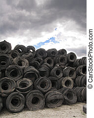 old tyres - landscape with old tyres
