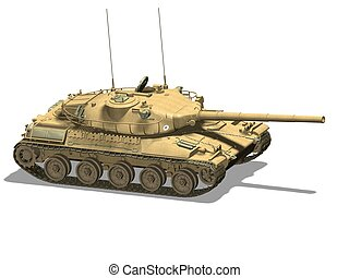tank - Computer image, military tank 3D, isolated white...