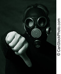 Symbol - Hand of man in gas mask showing the hand down...