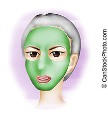 Facial Mask - Woman with Facial Mask Illustration with...