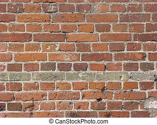 Brick wall old - Ancient brick wall with hollows on bricks