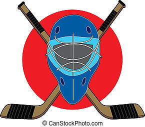 Hockey Mask - Hockey mask with sticks on red circle...
