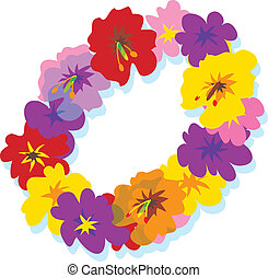 Lei - Hawaiian lei with big colorful hibiscus flowers