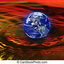 armageddon - concept of armageddon with the earth drowning...