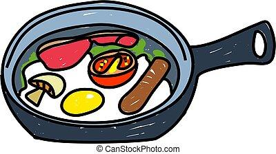 fried breakfast - english breakfast frying in a pan - food...