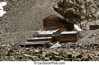 The Old Mine - Old Mine Buildings above timberline in the...
