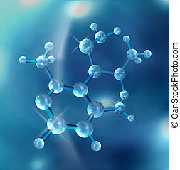 Molecule - 3D rendered Molecule Abstract with Clipping Path...