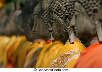 Buddha Statues - Shallow depth of field of buddha statues at...