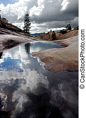 Lone Pine, Quiet Pool - Lone Pine Tree, Red Glacial Granite,...