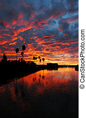 Dramatic Red Sunset Reflected  over California
