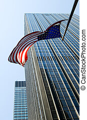 American flag flying - American flag in the air over...