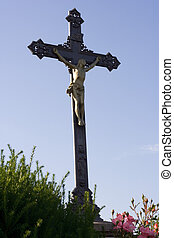 Cross - Christ on the cross against the blue sky