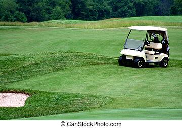 Golf cart on golf course - an image of a Golf cart on golf...
