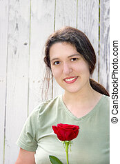 Happy Mother\\\'s Day - a lady holding a single red rose