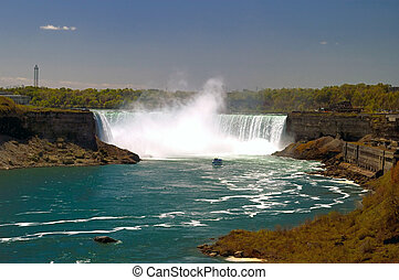 Niagara Falls - Beautiful Niagara falls with copyspace at...