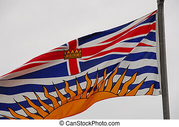 british columbia flag - BC flag in the wind