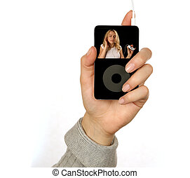 MP3 Music Player Showing a Woman Listening to Music