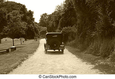 Vintage Auto - Photo of a VIntage Auto on a Dirt Road -...