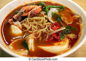 Seafood noodles - A bowl of asian seafood soup noodles