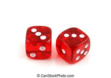 Dice - Pair of 3s - 2 Dice close up- Pair of 3s