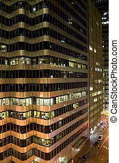 Financial District building detail at night portrait San...