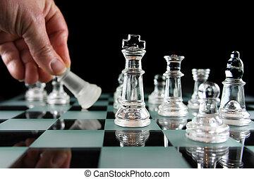 -, ajedrez, derrotado