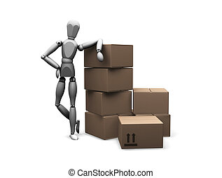 Man leaning on boxes
