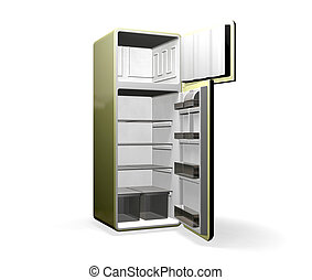 Modern Fridge - 3D render of a modern fridge