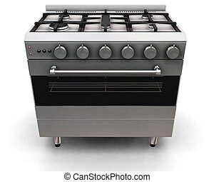 Oven - 3D render of an oven on a white background
