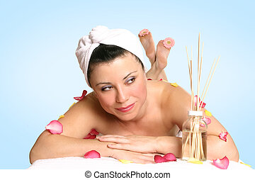 Aromatherapy beauty treat - A resting woman ready for beauty...