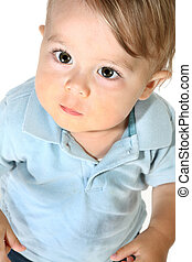 Adorable Baby Boy - Adorable baby boy looking up over white...