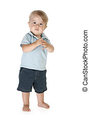 Adorable Toddler - Boy of fifteen months standing barefoot...