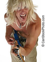 Blond wig on man with tongue out playing rock guitar