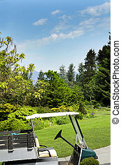 golf cart - shot of golf cart over blue sky in vancouver...